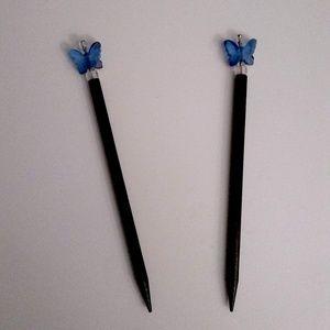 Blue Butterfly Hair Sticks Super Cute!